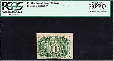 US 10c Fractional Currency w/ Inverted Surcharge Error FR 1246 PCGS 53 PPQ AU