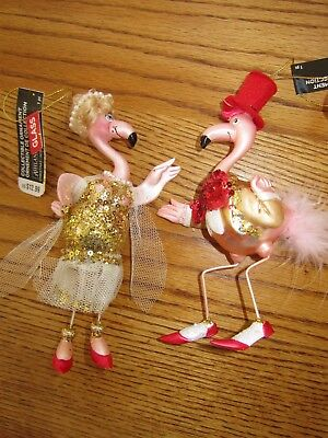 Flamingo Couple In Formal Attire Christmas Anytime Ornaments Decor-New W/tags