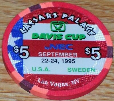 $5 Davis Cup 1995 Gaming Chip From Caesars Palace Casino Las Vegas Nv