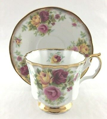 Staffordshire Elizabethan Footed Teacup And Saucer Jacobean Yellow Pink Red Rose