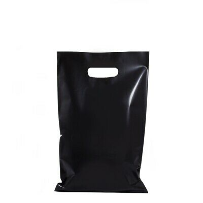 100 x BLACK PLASTIC GIFT CARRY BAGS DIE CUT HANDLE SMALL MEDIUM 250 x 380mm