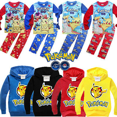 Kids Boys Pokemon Go Pikachu Hoodie Sweatshirt Pajamas Nightwear Sleepwear Tops