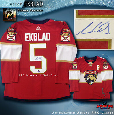 low priced f770e 1f803 AARON EKBLAD SIGNED Florida Panthers Red Adidas PRO Jersey