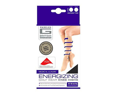 Neo G Energizing Flight Compression Knee Highs Socks Black Size Large UK 7-9