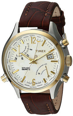 Timex Men's Intelligent Quartz Fly-Back Chrono S. Steel Leather Watch TWH4Z5210