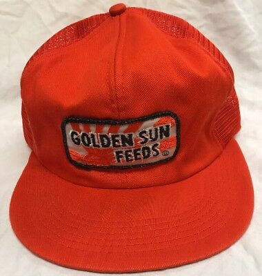 VINTAGE Golden Sun Feeds Farmer Orange Hat Snapback Trucker Mesh Cap
