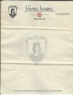 ME-121 Hotel Isabel, Mexico D.F. Three Sheets Vintage Letterhead 1930's-1960's