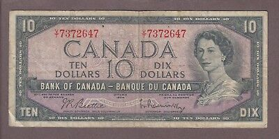 1954 $10 Dollars Beattie Rasminsky - Prefix V/T - Bank of Canada - D097