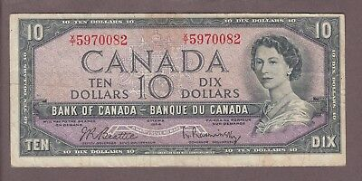1954 $10 Dollars Beattie Rasminsky - Prefix X/T - Bank of Canada - E277