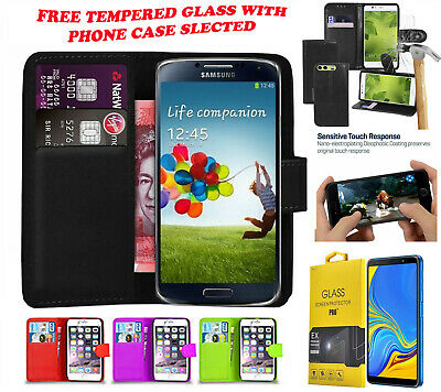 Leather Flip Wallet Book Case Cover For Galaxy Samsung Phones & Tempered Glass