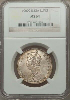 India British Victoria 1900-C  Rupee Silver Coin Uncirculated Certified Ngc Ms64