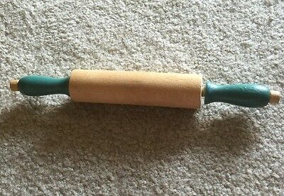 Vintage Blue Handled Wooden Child's Toy Rolling Pin Salesman Sample 8""