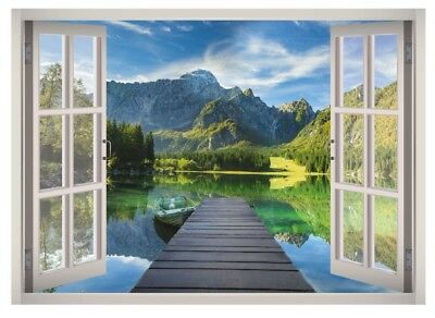 Lake Garda View Window 3D Wall Decal Art Mural Home Decor Canvas Vinyl W81