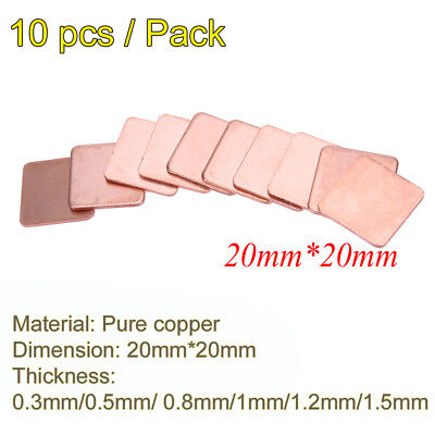 10x 20mm/15mm 0.3mm to1.5mm Heatsink Copper Shim Thermal Pads for Laptop GPU CPU
