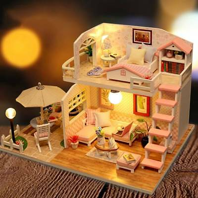 DIY Handcrafted Dollhouse Toy Wooden Miniature Furniture Kit LED Light Kid Gift
