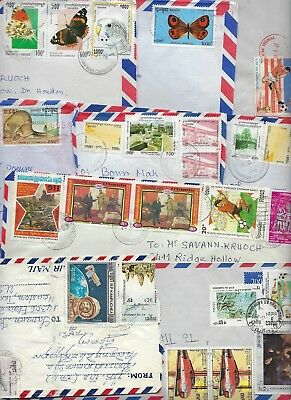 CAMBODIA 1990s LARGE COLLECTION OF 21 COMMERCIAL AIR MAIL COVERS W/VARIOUS FRANK