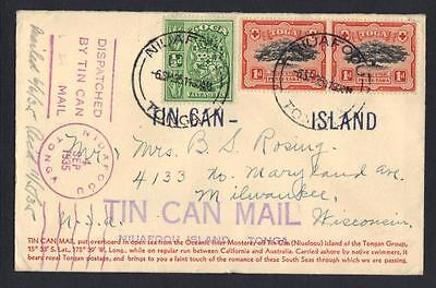 Tonga Us 1935 Niuafoou Tin Can Island Mail Cover To Milwaukee Wisconsin
