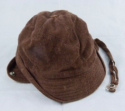 Vintage Child Toddler Boy's Brown Corduroy Winter Hat Cap Ear Flaps 1950s-60s
