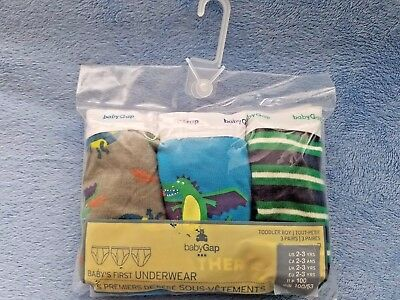 New in Package 3 Pack Lot of Gap Brief Underwear, Dragon, Stripes, Size 2T-3T