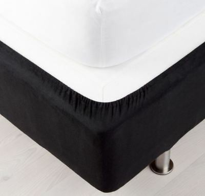 Fitted Bed Base Wrap Around Bedding Elastic Home Cotton Cover Mattress Black