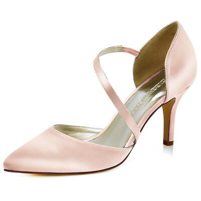 Women High Heel Pumps Pointed Toe Strappy Satin Party Wedding Prom Dress Shoes