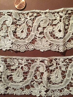 Handmade 19th C. Duchesse bobbin lace two cuff length pieces COSTUME COLLECT