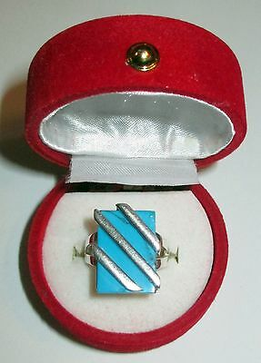 Vintage Sterling Russian Turquoise Ring Modern Russia Mark 925 Sz 7