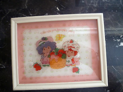 1979 Strawberry Shortcake picture on glass frame - Friends are heaven set