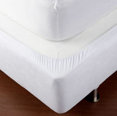 Fitted Bed Base Wrap - Around Bedding Elastic Cotton Jersey Cover Mattress WHITE