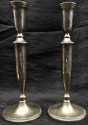 """Vtg Godinger Silver plated Colonial Style Silver Candlesticks Pair 11.5"""" Tall"""