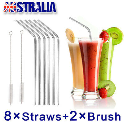 8x Stainless Steel Straws Brush Metal Drinking Straw Bent Reusable Washable Food