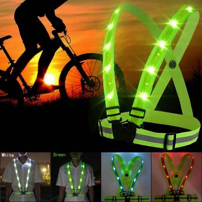 Adjustable USB Rechargeable LED Reflective Belt Safety Vest for Running Cycling