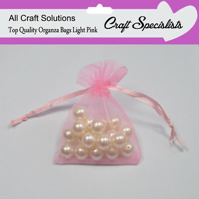 7 x 9 LIGHT PINK Luxury Organza - Gift Bags Jewellery Pouches Wedding Party