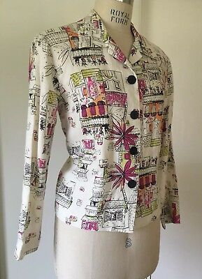 Great Vintage 1970s Linen Novelty Jacket City Building Houses Scenes Bust 41