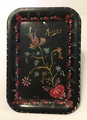 Atq Vtg 1900's Toleware Tin Tray Hand Painted Signed PA Dutch Folk Primitive