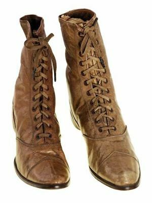 Antique Boots Childrens 1869 Tan High Top Lace  Never Worn NOS Shoes Civil War