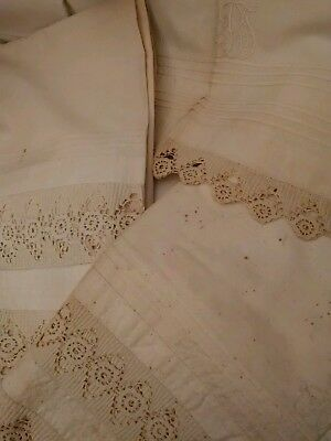 Antique sheets with crochet border (2 sheets, +includes cut European pillowcase)