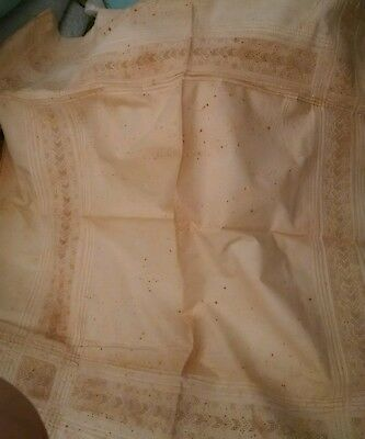 Antique 19th century bed linens (2 sheets, 3 pillowcases)