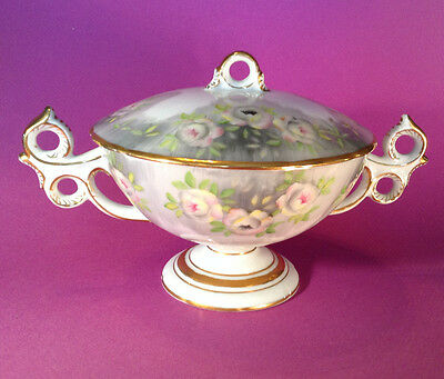 Covered Compote With Elaborate Handles - Hand Painted Inside And Out - Japan