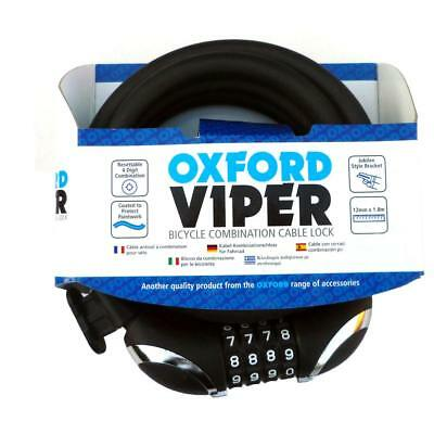 Oxford Viper combination bike lock with cycle mount 1.8m x 12mm Black