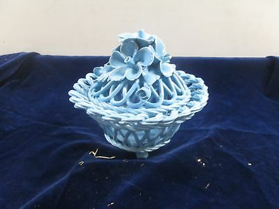 Vtg Nos Italian Capodimonte Blue Woven Ceramic Basket Weave Dish Relief Flowers
