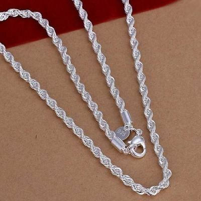 925Sterling0 Silver 2mm 3mm 4mm Necklace 16 18 20 22 24 inch Wrest Rope Chain
