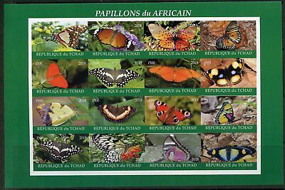 Chad 2018  Butterflies  Imperforate  Sheet  Mint Never Hinged