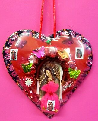 Mexican Protection Amulet Heart Guadalupe Lucky Charms Virtuous Horseshoe Small