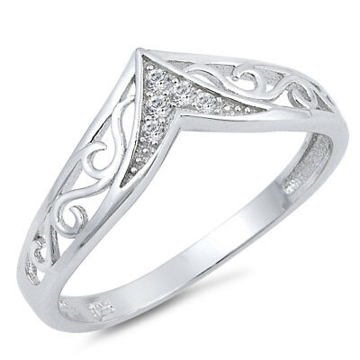 Filigree Chevron Clear CZ Thumb Ring .925 Sterling Silver Band Sizes 4-12 NEW