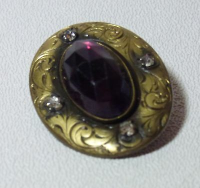 Antique BUTTON Gay 90's Nineties Faceted Amethyst Rhinestone Accents 1 5/8""