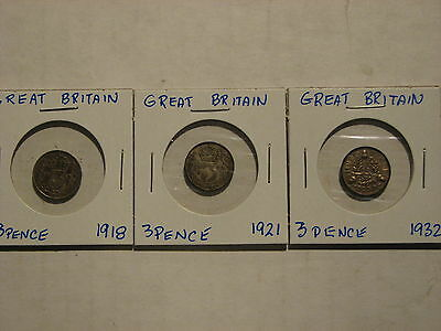 Great Britain ThreePence lot of 3 - 1918, 1921, 1932.