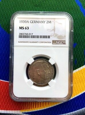 NGC MS 63 1939 A 2 mark German WWII Silver Coin Third Reich Reichsmark 5*
