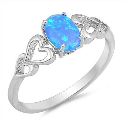 Blue Lab Opal Oval Heart Cutout Promise Ring .925 Sterling Silver Sizes 4-10