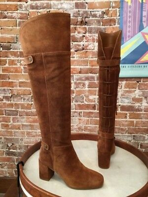 32b300f46 FRANCO SARTO COGNAC Brown Suede Pava OTK Over the Knee Boots NEW ...